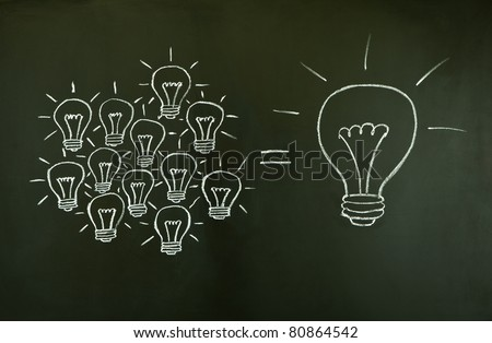 Many small ideas equal a big one, illustrated with chalk drawn light bulbs on a blackboard.