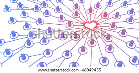 Many small symbolic 3d figures linked by lines, isolated