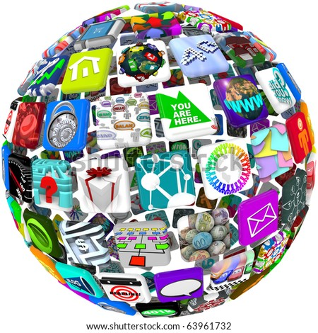 Many smart phone application icons arranged in a spherical shape - stock photo