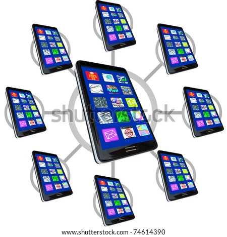 Many smart phones with apps in a communication network, representing the connections possible with mobile devices