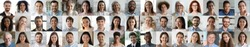 Many smiling multiethnic people faces headshots collage mosaic. Lot of young and old adult diverse ethnicity professional people group looking at camera. Horizontal banner for website header design