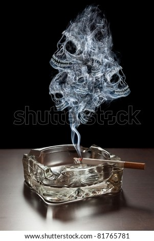 Many smoke skulls rising from a cigarette.