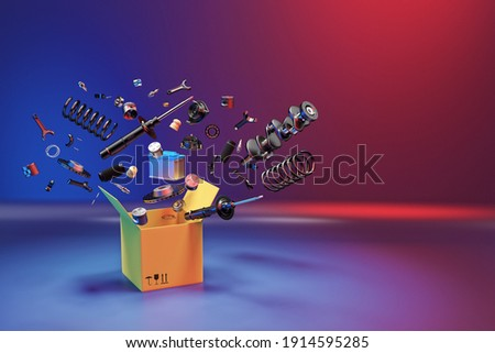 Many spare parts flying out of the box gray background. Isolated auto spare parts on gray background. Auto spare parts for passenger car, OEM. 3D rendering