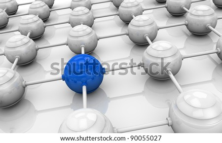 many spheres connected each other in a grid shape with one in different color, concept of teamwork and leader (3d render)