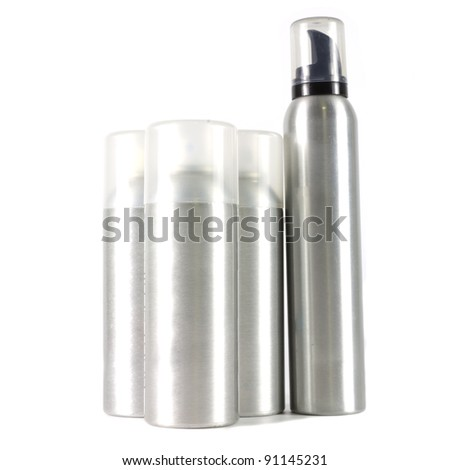 many spray can on white background