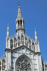 many statues of the Gothic facade of the Church of the city of Rome called holy heart of suffrage
