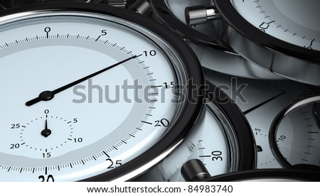 many stopwatches, 3D horizontal render. Image the tone is blue and grey, the needle of the front stopwatch is positioned on 10 seconds
