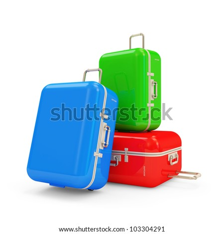 Many Suitcases isolated on white background