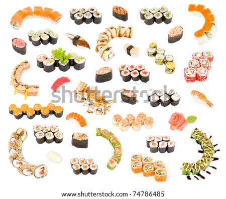 many sushi and sushi rolls, a big set over white