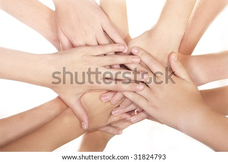 Many team hands in the huddle white background