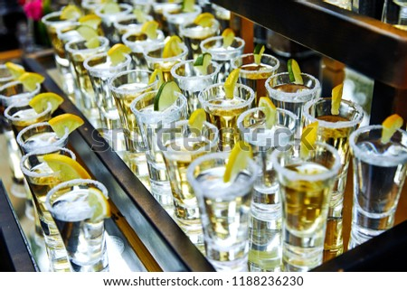 many tequila glasses with lemon and cactus #1188236230
