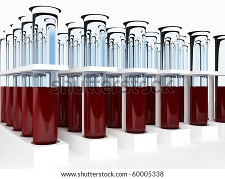 Many test tube with blood for analysis