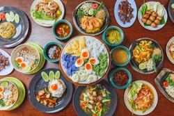 Many Thai food, including papaya salad, pad Thai, Thai noodles and rice noodles