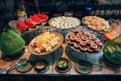 Many Thai fruit something like watermelon , mangosteen , pineapple in morning buffet Thai resort.