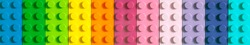 Many toy blocks in different colors making up one large square shape in top view. Toys and games.