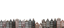 Many traditional houses in Amsterdam in the Netherlands in a row isolated on white background.