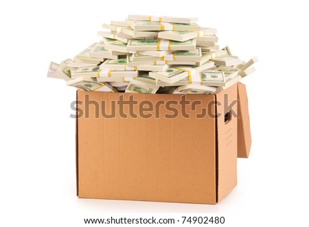 Many 100 US dollars bank notes in cardboard box a  and bundle isolated on white background