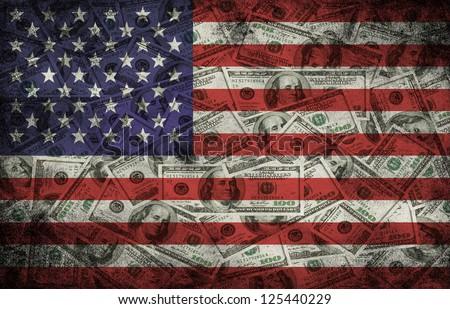 Many US 100 dollars, USA flag, business background