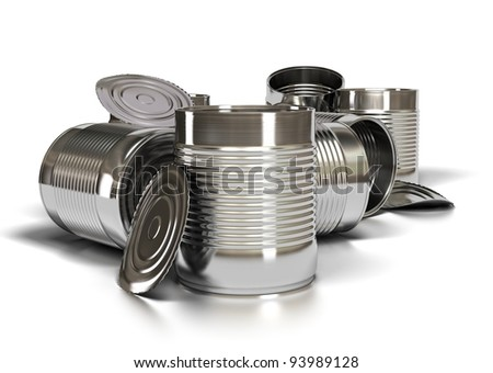 many used metal tins over white background, opened tin