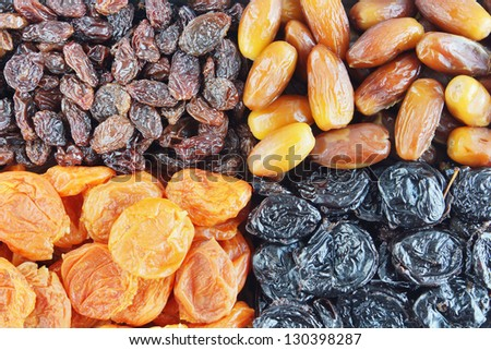 Many various dried fruits