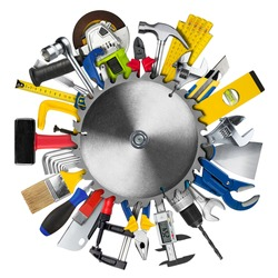 many various hand working tools behind circular buzz saw blade isolated on white background. DIY hardware store equipment so it youself work concept.