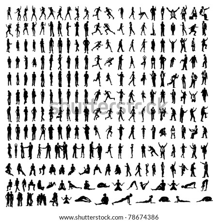 Many very detailed silhouettes including business, dancers, yoga etc.