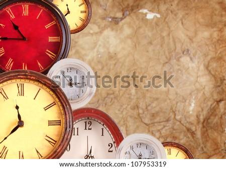 many vintage clocks on a old...