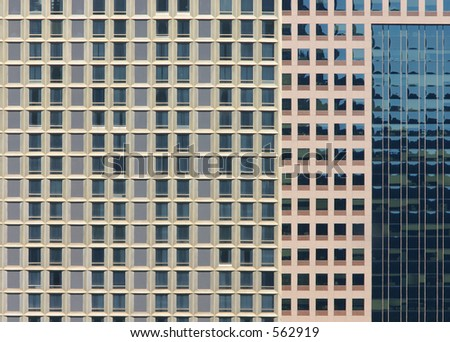 Many windows on tall buildings.