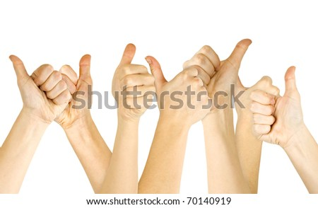 Many woman's hand lifted up on white background