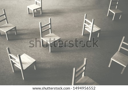 many wooden chairs in chaotic disposition  Stock photo ©