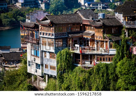 Many wooden house in  Furong town, Furong town  is an ancient town with a history of two thousand years. It is located in yongshun county, xiangxi autonomous prefecture, Hunan, China