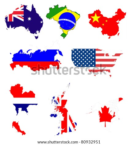 Many world map with flag symbol.