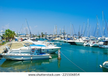 Many yachts and fishing boats are moored in Larnaca Marina, Cyprus.