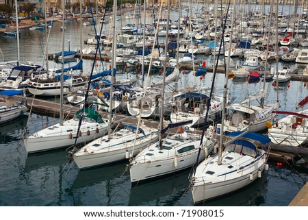 Many yachts  lying at Dockyard Creek. Malta