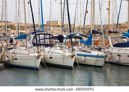 Many yachts lying at Malta harbour, Valletta