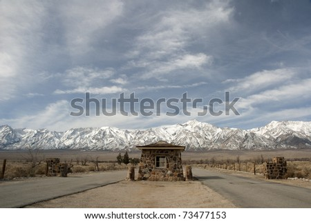 Manzanar National Historic Site. Entry Gate. Site where Japanese American citizens and resident Japanese aliens were interned during World War II.