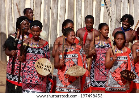 MANZINI SWAZILAND MAY 30 unidentified group of young men and woman wears traditional clothing and dance during presentation of a Swazi show on May 30 2014 Manzini Swaziland