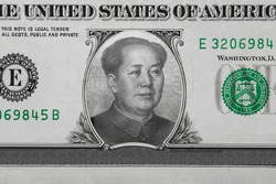 Mao Zedong inside American Dollar. Ideas for Competition between China and USA, Risk of war, Taking over, Economy overtake, Changing world currency from US dollar to Chinese yuan