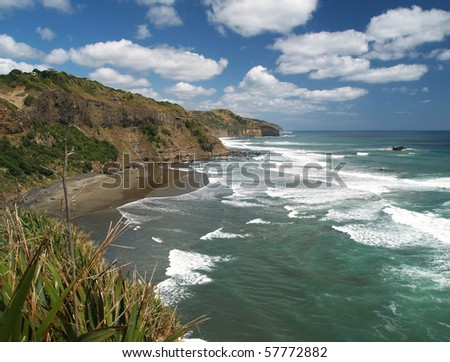 Maori bay, beach, western shore of Auckland, New Zealand