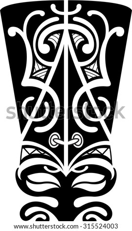 Maori mask is isolated on white