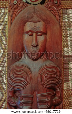 Maori wall carvings in a