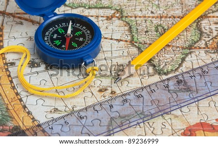 map and compass, still life