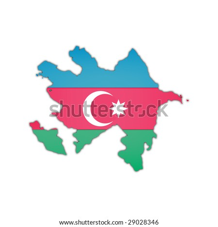 map and flag of  Azerbaijani with black shadow on white background