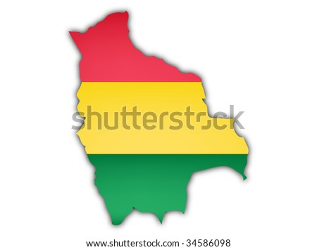 map and flag of bolivia with shadow on white background