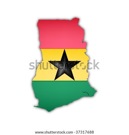 map and flag of ghana with shadow