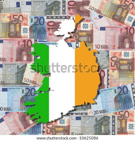 Map And Flag Of Ireland With Collage Of Colourful Euro ...