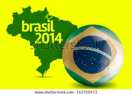 Map and Soccer ball of Brasil 2014
