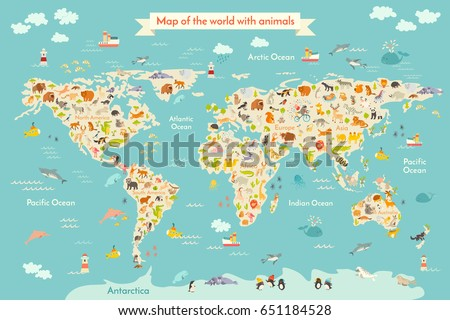 Map animal for kid. Continent of world, animated child's map. Illustration animals poster, drawn Earth. Continents and sea life. South America, Eurasia, North America, Africa and Australia