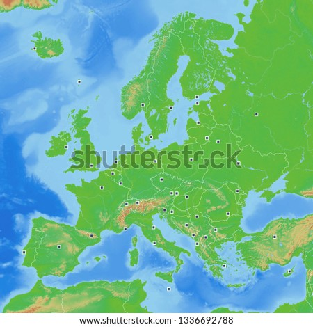 Map Europe Geographic with Capitals 1