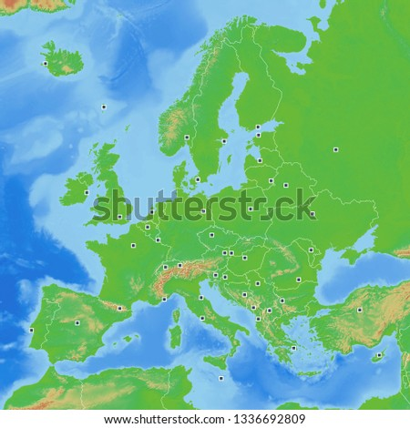 Map Europe Geographic with Capitals 2